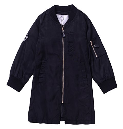 ARRIBADA Girls'Long Outwear Polyester Zipper Jacket with Letters Print