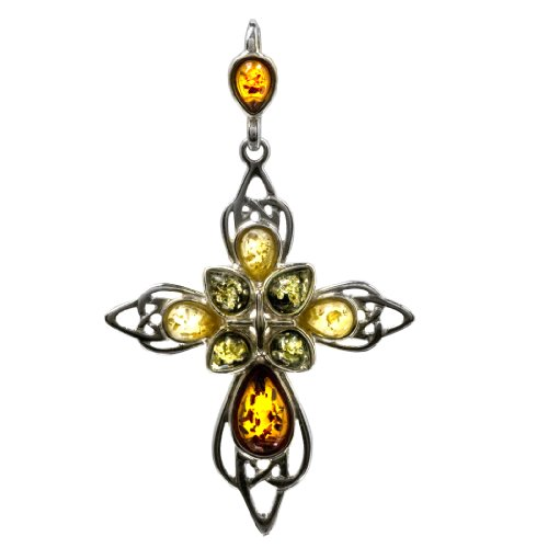 Multicolor Amber and Sterling Silver Large Cross Pendant