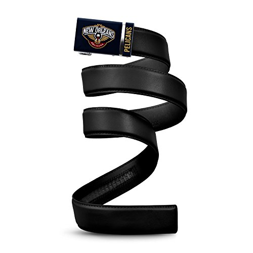 """NBA New Orleans Pelicans Mission Belt, Black Leather Ratchet Belt, Small (Up to 32"""")"""
