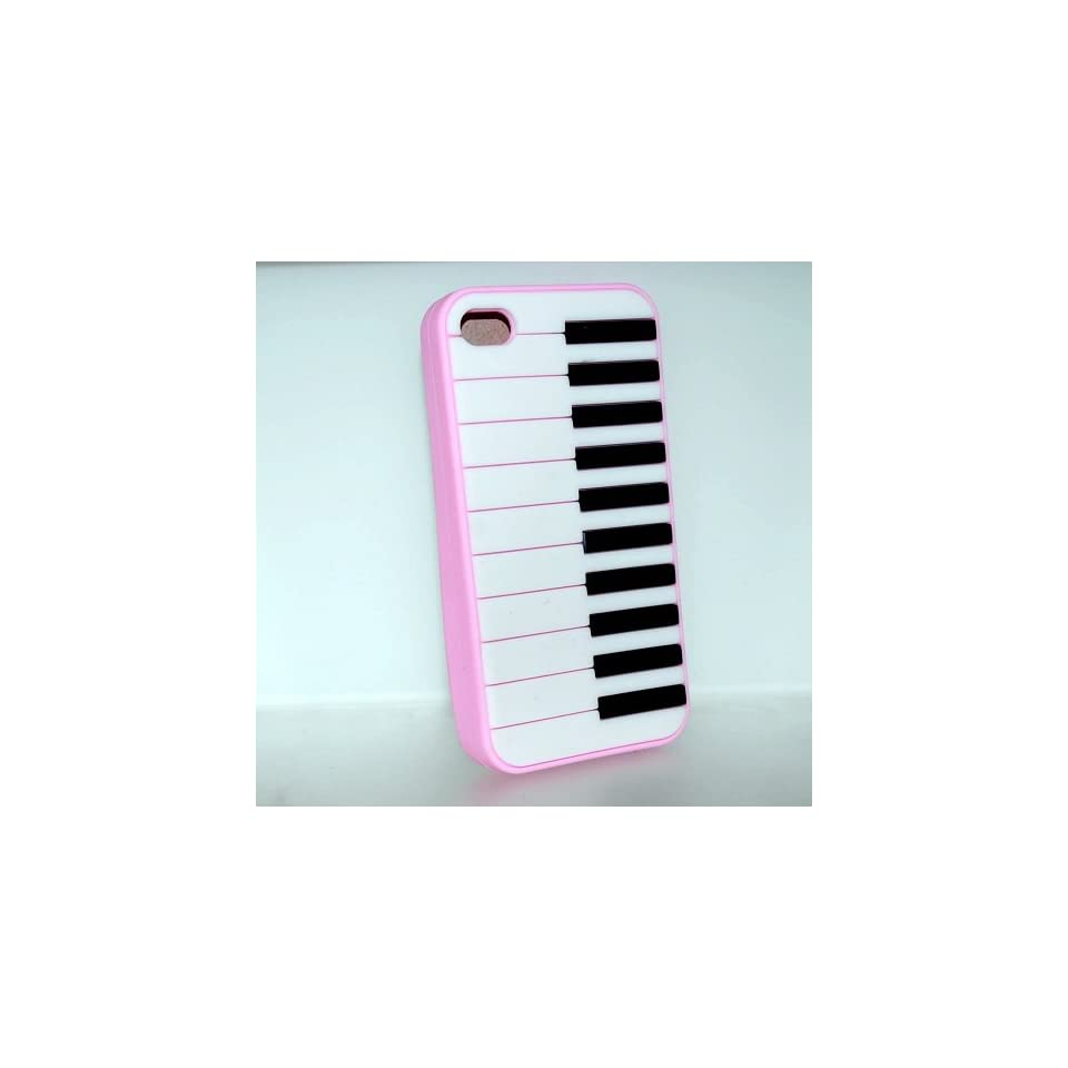 Pink Piano Keyboard Design Soft Silicone Skin Gel Cover Case for Verizon At&t Sprint Apple Iphone 4 4s + Lcd Screen Guard + Microfiber Pouch Bag