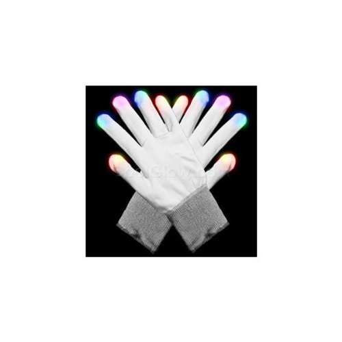 Hndtek Large Size LED White 6 Light Flashing Modes Gloves, Lightshow Dancing,Gloves For Clubbing, Rave, Birthday, EDM, Disco, and Dubstep Party,Flashing Glowing Unisex Gloves (80, White)
