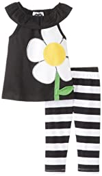 Mud Pie Baby-Girls Newborn Flower Tunic and Legging Set, Black/White/Yellow, 6-9 Months