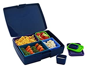 Laptop Lunches Bento-ware Bento Lunch Box with BPA-Free, Leak-proof Containers, Berry Blue (L600-berry)