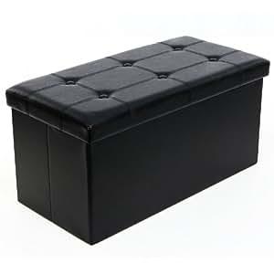 Songmics 76x38x38 cm Tabouret Cube Pouf Dé Pliable Coffre de Rangement Noir LSF105