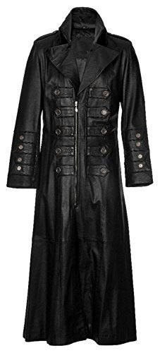 Mens Gothic Military Steampunk Long Leather Coat