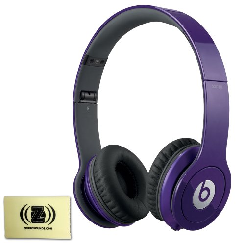 Beats By Dr. Dre Solo Hd Signature Sound High Performance Over-Ear Headphones (Purple) Bundle With Custom Designed Zorro Sounds Instrument Cloth