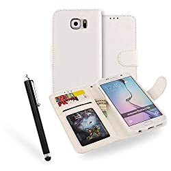 Galaxy S6 Edge Case Leather Wallet Case With Slot For Cards [With Stylus Pen] Luxury Cover For Samsung Galaxy S6 Edge 2015 Edition - (White)