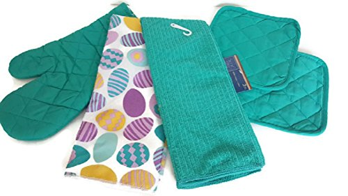Easter Eggs Teal Kitchen Linen Bundle 5 Piece Set Includes 2 Kitchen Towels, 2 Pot Holders, 1 Oven Mitt