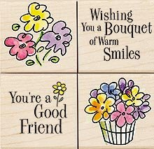 Bouquet of Smiles Wood Mounted Rubber Stamp Set (LL938)