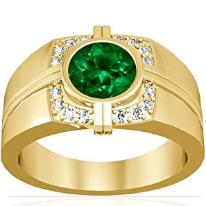 14K Yellow Gold Round Cut Emerald Mens Ringby&#160