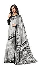 Design Willa Bollywood Style Smooth Crepe Sari (DWSM019,white and black)