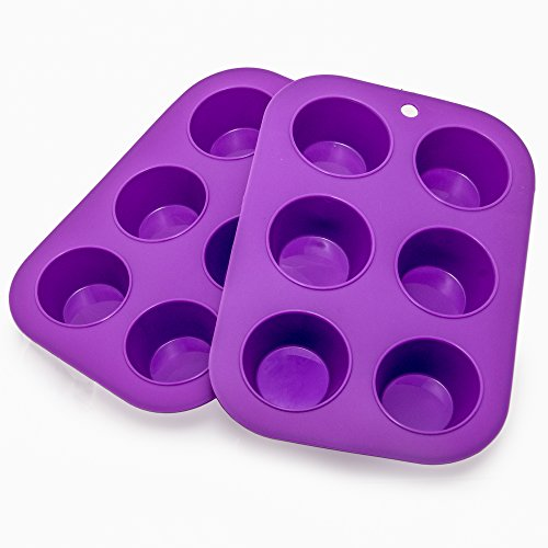Muffin Cupcake Quiche Pan, 6-cup (Set of 2) 100% Food Grade Nonstick Silicone Bakeware by Happy Cook (Purple Cupcake Pan compare prices)