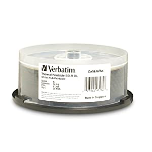 Verbatim 97284 50 GB 2x DataLifePlus White Thermal Hub Printable Blu-ray Double Layer Recordable Disc BD-R DL, 25-Disc