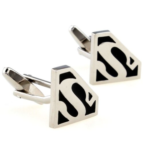 Beour White-gold-plated-silver Funny Black and White Superman Cufflinks