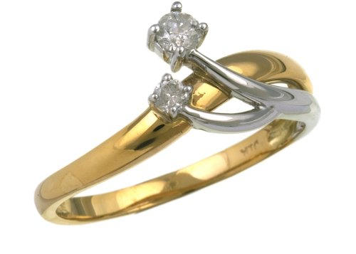 Ladies' Diamond Ring, 9 Carat Yellow and White Gold set with Two Stones