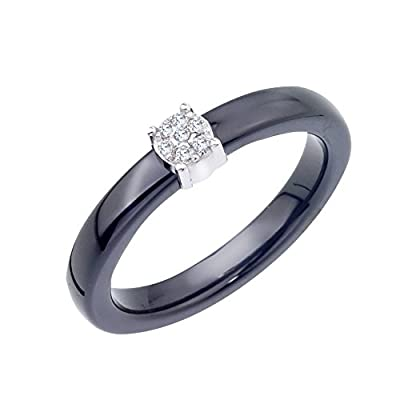 Diamond Accent Promise Ring in Ceramic and Sterling Silver (0.05 cts, H-I I2 I3)