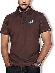 Erdferkel & Wobbegong Men's Pique Polo T-Shirt (ENW_15_Brown_Small)