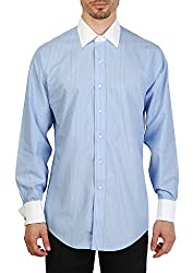 Brooks Brothers Men's Cotton Casual Shirt (BB_16022016_001_XL, Blue And White, XL)