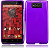 VMG 3-Item Car Charger Combo for Motorola Droid Ultra XT-1080 / XT1080 (DROID ULTRA) Cell Phone Translucent TPU Sleek & Slim Case Cover - Purple + LCD Clear Screen Saver Protector + Premium Coiled Car Charger