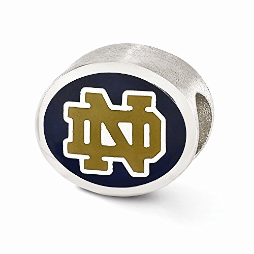 Sterling Silver Enameled University of Notre Dame Collegiate Bead