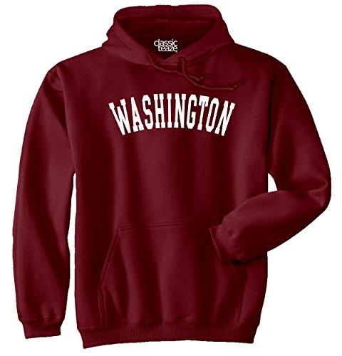 Washington State Printed Adult Hooded Sweatshirt - Maroon