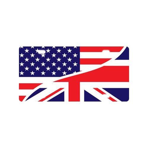 USA American Flag and The Union Jack British Flag Custom Car Tag Custom Metal License Plate for Car 4 holes (British Car Flag compare prices)