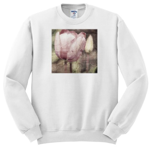 Ss_57209_3 Ps Flowers - Pink Tulip Door - Vintage Look Floral Print - Flowers - Sweatshirts - Adult Sweatshirt Large
