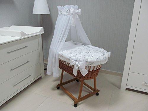 Baby-Stubenwagen-Bollerwagen-10-Teiliges-Komplettwiegenset-Matratze-Moskitonetz-Bettwsche-ohne-Knpfe-Bettbezug-Spannbettlaken-und-vieles-mehr-Modellwei-kleine-Rder