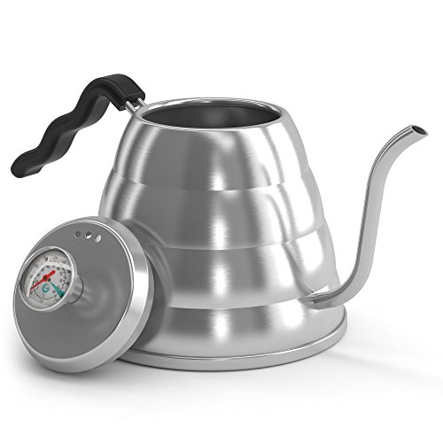 POUR OVER Coffee Kettle 1.2L - Stop Burning Your Beans - THERMOMETER Built-in by Coffee Gator - For Perfect Hand Drip Coffee
