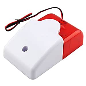 Mini Strobe Siren Security Wired Flash Alarm Device (DC 12V) - Red + White