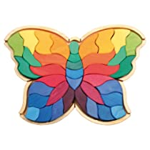 Big Sale Best Cheap Deals Grimm's Giant Butterfly Creative Puzzle with 37 Wooden Blocks in Rainbow Colors