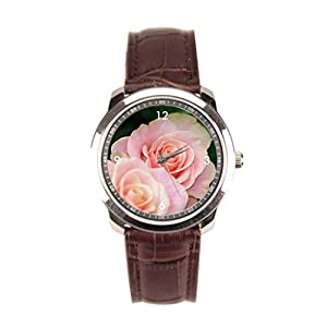 sanYout Watch Straps Leather Blossom Leather Mens Watch Rose Leather Wristband Watch Light
