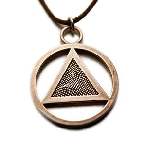 AA Symbol Peace Bronze Pendant Necklace on Adjustable Natural Fiber Cord