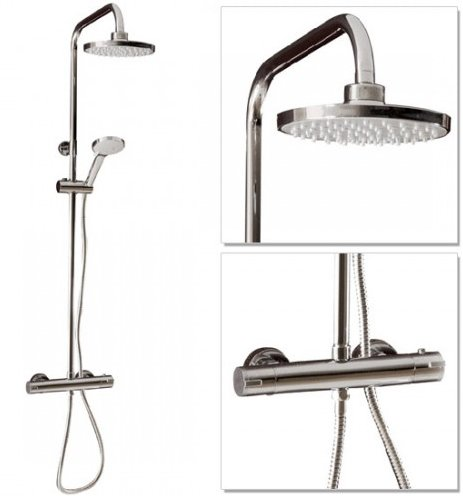 ROUND BRASS CHROME DUAL CONTROL THERMOSTATIC SHOWER MIXER TAP SET SK002