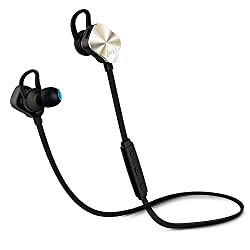 Mpow Wolverine Bluetooth 4.1 Wireless Sports Headphones, In-ear Running Jogging Stereo Headsets, Gold,Gold
