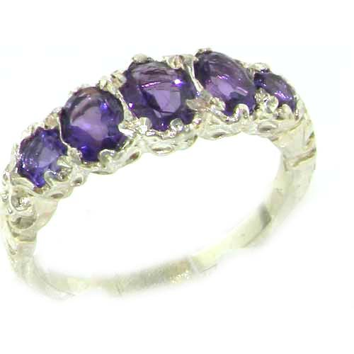 High Quality Solid Sterling Silver Natural Amethyst English Victorian Ring - Size 12 - Finger Sizes 5 to 12 Available - Suitable as an Anniversary ring, Engagement ring, Eternity ring, or Promise ring