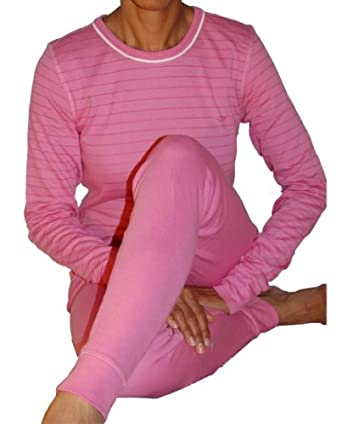 Pink Women's Thermal Underwear Top and Bottom Set:S