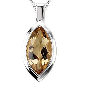 925 Sterling Silver High-Polish Finish Marquise Honey Quartz Pendant