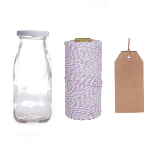 Dress My Cupcake 12-Pack Favor Kit, Includes Vintage Glass Milk Bottles And Twine/Kraft Gift Tag, Lavender front-507042