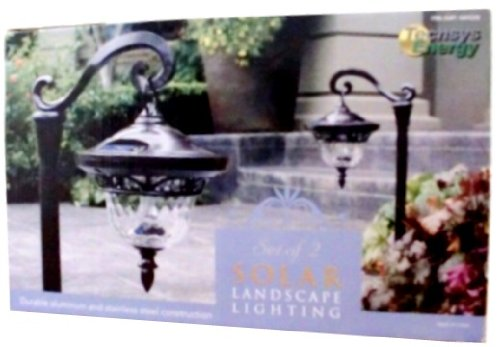 Solar Europen Style 2 Set Solar Landscape Path Lights, Durable Aluminum and Stainless Steel Construction, Recharges in Sun & Shade, Solar Lantern