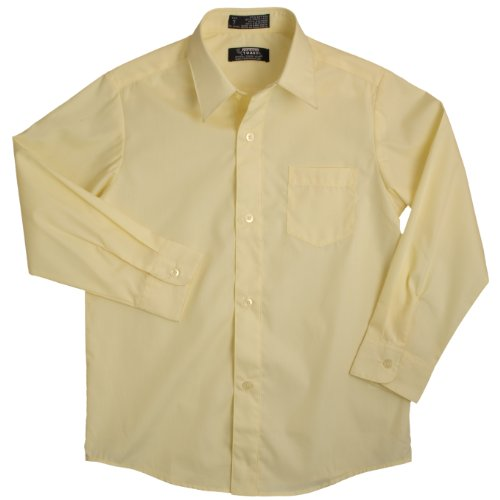 French Toast School Uniforms Long Sleeve Dress Shirt With Expandable Collar Boys Yellow 2T front-932391