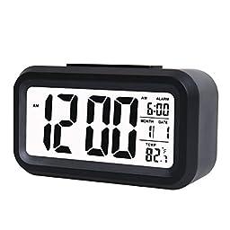 LMTECH Lcd Digital Clock Alarm Clock with Date and Temperature Display,Travel Clock,Desk Clock,Morning Clock with Low Light Sensor (Black)