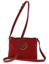Michael Kors Fulton Large Leather Crossbody Shoulder Bag Purse In Red
