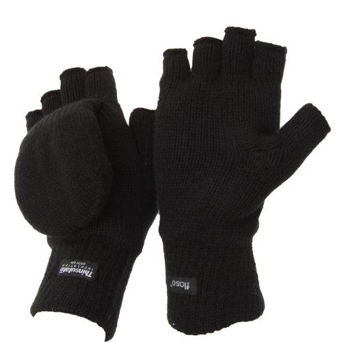 FLOSO® Unisex Mens/Womens Thinsulate Thermal Capped Winter Fingerless Gloves (3M 40g)