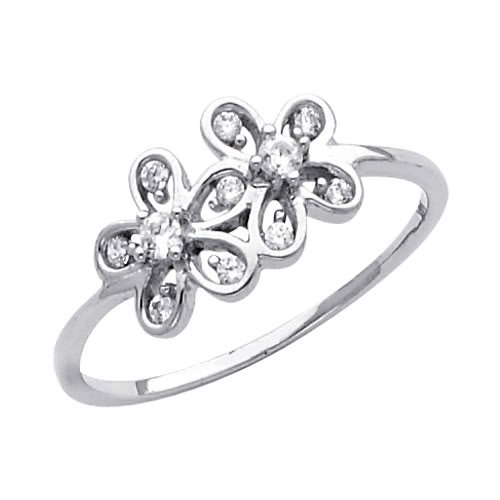 14K White Gold High Poliosh Finish Flower Round-cut Top Quality Shines CZ Cubic Zirconia Ladies Promise Ring Band - Size 4