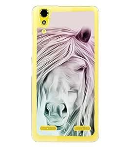 White Horse 2D Hard Polycarbonate Designer Back Case Cover for Lenovo A6000 Plus :: Lenovo A6000+ :: Lenovo A6000