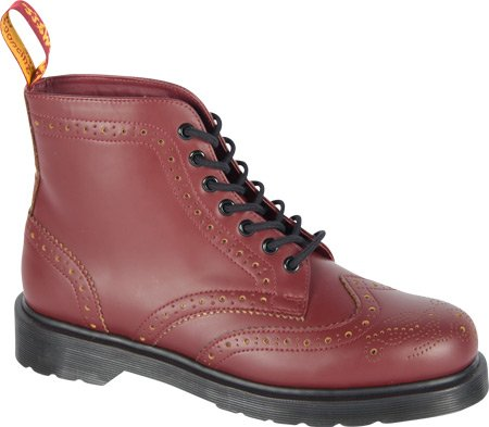 Dr. Martens Men's Anthony Brogue Boot,Cherry Red/Yellow Smooth Slice,UK 3 M