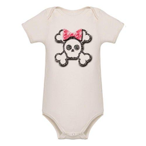 Cafepress Girl Skull And Crossbones Pink Bow Organic Baby Bo Organic B - 3-6M Natural