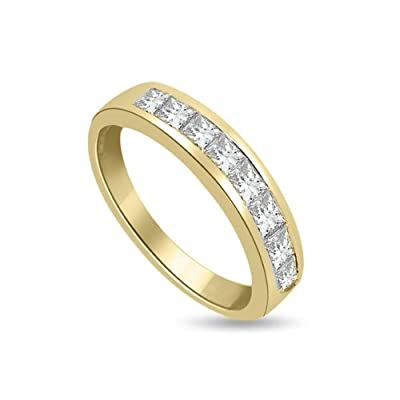 0.90 carat Diamond Half Eternity Ring for Women. F/VS1 Princess Cut Diamonds in Channel Setting in 18ct Yellow Gold