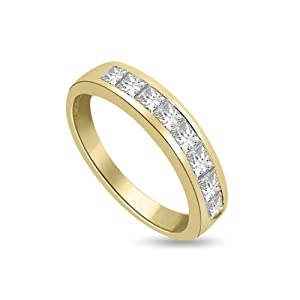 0.45 carat Diamond Half Eternity Ring for Women. F/VS1 Princess Cut Diamonds in Channel Setting in 18ct Yellow Gold